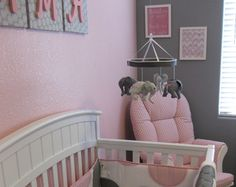 Baby Mobile--Pink Grey Nursery---Elephant Mobile--Fabric Mobile--Nursery Mobile-baby Elephants