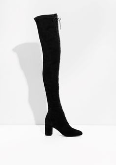 & Other Stories image 1 of Over The Knee Lace-Up Boots in Black