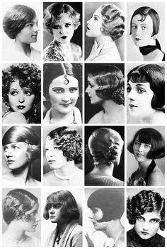 A collection of 1920's photographs, depicting some of the hairstyles of the time, like the kiss curl, the orchid bob, the charleston cut, coconut bob, earphones hairstyle, cottage loaf (bun) and popular styles you'll probably never see in a period drama like extreme windblown style, the frizzy hairstyle and the Poodle cut.