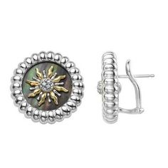 SLANE Solis Sterling Silver Earrings with Black Mother of Pearl and Diamond SM4990BP-SUN