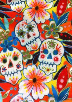 Flower glitter skull fabric in orange - History on the Day of the Dead http://www.mexicansugarskull.com/support/dodhistory.html