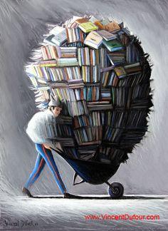 """Tableau """"La culture physique"""" de Vincent Dufour (Pastel sec 50/65cm). Dispo sur http://www.vincentdufour.com/fr/85-style-bd # peinture, dessin, livre, brouette,"""