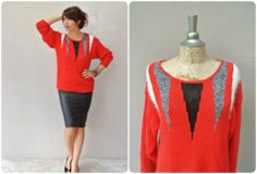 red knit sweater / vintage angora abstract triangle pullover sweater