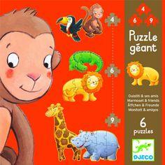 djeco puzzels safaridieren (4, 6 en 9st) DJ07114   ilovespeelgoed.nl