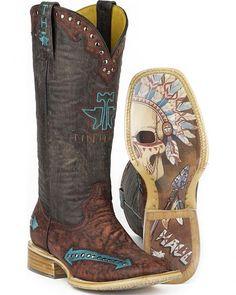 Tin Haul Arrowhead Cowgirl Boots - Square Toe