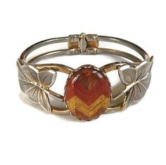 Laminated Wood Cabochon Clamper Bracelet Vintage Hinged with Leaves by MyVintageJewels on Etsy