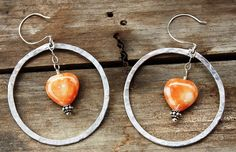 Handmade Hammered Hoop and HeartShaped by BodaciousBaubleNBead, $18.95