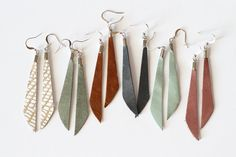 Leather Dangle Earrings – Minimalist Boho Style – Lightweight And Nickel Free – Available in Over 40 colors – jewelry Diy Leather Earrings, Boho Earrings, Leather Jewelry, Leather Craft, Earrings Handmade, Handmade Jewelry, Garnet Earrings, Glass Earrings, Do It Yourself Jewelry