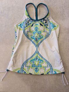 Athleta Small Tankini Swimsuit Top Turquoise White Paisley Ruched Supportive #Athleta #TankiniTop
