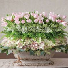 seeded eucalyptus, blush pink hydrangea, maiden hair fern, white lilac, blush pink tulips...just beautiful