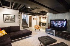 11 Reasons to Paint Your Ceiling Black: black basement ceiling