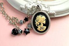 Lady Skeleton cameo  necklace Gothic lolita black by DinaFragola