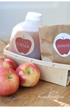 soooo cute!  mini cider jugs and berry boxes available through Garnish (also free sticker printables)