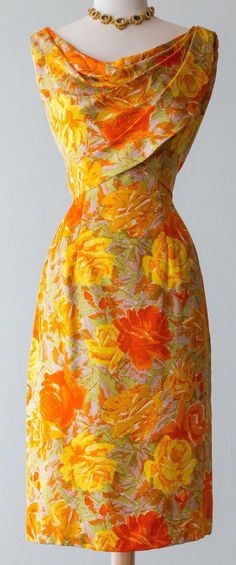 ~Suzy Perette silk cocktail party dress in brilliant yellow and orange rose print. Features a draped wrap style bodice that repeats at the back. Label reads Suzy Perette New York. Sold on Etsy by xtabayvintage. Source by dresses idea Fashion Moda, Look Fashion, Retro Fashion, Vintage Fashion, Fashion Outfits, Dress Fashion, 1950s Fashion Dresses, 2000s Fashion, Female Fashion