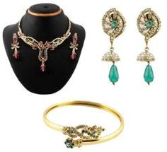 Buy vendee ravishing jewellery combo @ Rs1,330 #buysetsonline #designer #jewellery #women #gold #diamond #setsonline #womenearings