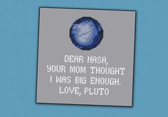 Science Pluto funny quote - PDF cross stitch pattern on Etsy, $4.50