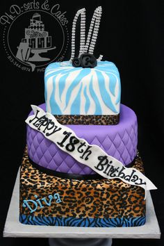 purplr cheetah cake decorations | leopard print zebra print cake tiffany blue birthday 18 fondant ...