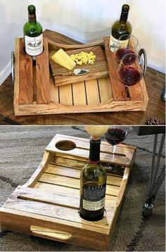 Mostly people buy the trays for serving that are available at every other store, but those who want everything unique in their home; here is an idea for making a wood pallet serving tray with the slots for fixing the bottle and glass. - Diy for Home Decor Kids Woodworking Projects, Diy Pallet Projects, Woodworking Plans, Woodworking Furniture, Woodworking Techniques, Pallet Ideas To Sell, Woodworking Jointer, Woodworking Supplies, Popular Woodworking