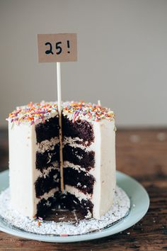 CHOCOLATE CAKE WITH HALVA FILLING, TAHINI FROSTING, AND A CRAP TON OF SPRINKLES BECAUSE...
