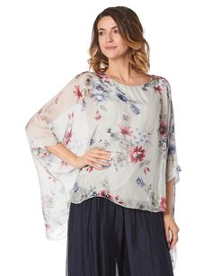 Silk floral cape blouse by Froccella