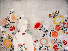 """Singapore-based artist Izziyana Suhaimi introduces embroidered accents to her carefully rendered pencil and watercolor illustrations. Patterns of flowers unfold much like a tapestry across the paper canvas creating pieces she refers to as """"evidence of the hand and of time."""" For her serie"""
