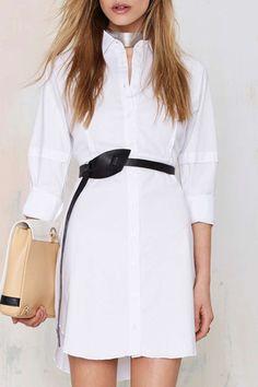 Shirt Collar Long Sleeve White Dress