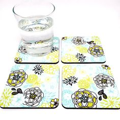 Cork Coaster for Drinks - Home Accents - Floral Decor Coaster Set - Drink…