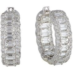 18K 5.86 Ct. Tw. Diamond Hoop Earrings ($9,000) ❤ liked on Polyvore featuring jewelry, earrings, jewelry & watches, nocolor, diamond earrings, earring jewelry, 18 karat gold earrings, diamond earring jewelry and diamond jewelry