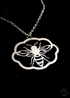 Silhouette Honey Bee necklace in silver stainless by FableAndFury, $26.00