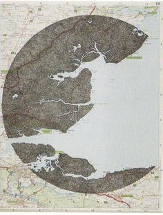 Louise Norman. Circle over a map with just the land areas filled in with black pen dots. (Exhibited in the Jerwood Drawing Prize 2007