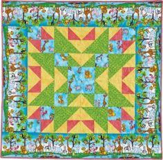 Zoo Parade (48″ x 48″) from the March/April '13 issue of Quiltmaker makes a fast fun baby quilt. Fabric: Alligator Tails by Kathy Brown of The Teacher's Pet for Red Rooster Fabrics.
