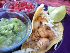 Cajun Fish Tacos with Season's-End Salsas: One of my favorite ways to enjoy garden tomatoes is with freshly-cut, homemade salsas.