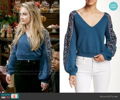 Maya's blue cropped sweater with embroidered sleeves on Girl Meets World.  Outfit Details: https://wornontv.net/63025/ #GirlMeetsWorld
