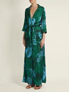 Maria Palm-print satin maxi dress | Borgo De Nor | MATCHESFASHION.COM