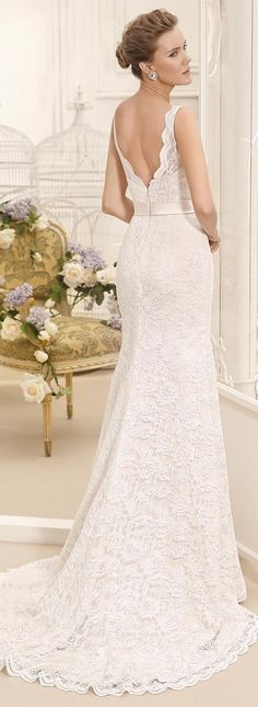 Lace sleeveless fitted Wedding Dress by Fara Sposa 2017 Bridal Collection
