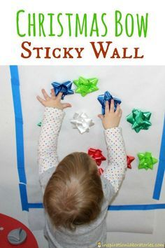 A Christmas bow sticky wall is the perfect activity for toddlers. Practice fine motor skills, colors, patterns, and keep them entertained!