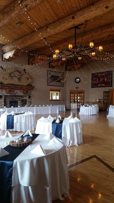 The one and only Anasazi Ballroom!  (dressed in Navy table runners)