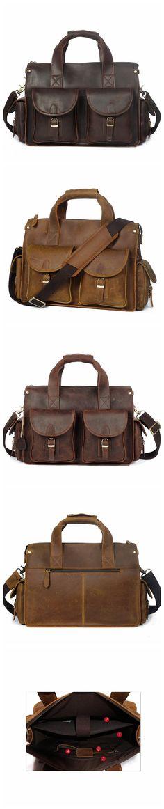 ROCKCOW Crazy Horse Genuine Leather Men Bag Men Messenger Bags Vintage Briefcases Handbag Leather Laptop Bag YD8045