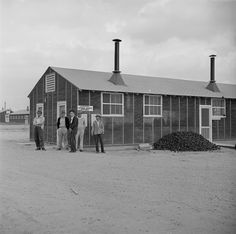 [Photo] Security Office (foreground) and Housing Department (background) buildings at Jerome War Relocation Center, Arkansas, United States, 17 Nov 1942 Japanese American, World War Ii, Arkansas, Buildings, United States, History, House Styles, World War Two, Historia