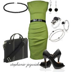 """Green Office Dress with Black and Silver Accessories"" by stephanie-jozwiak on Polyvore"