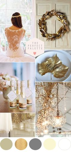 A beautiful golden wedding palette Winter Wedding Colors, Winter Wedding Inspiration, Winter Weddings, Wedding Images, Wedding Themes, Wedding Decorations, Gold Wedding, Dream Wedding, Wedding Day