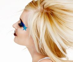 Star Makeup Tips, Tutorials, Designs and Ideas Cheerleading Accessories, Cheerleading Gifts, Cheer Gifts, Cheer Bows, Glitter Stars, Blue Glitter, Star Makeup, Crazy Makeup, Makeup Designs
