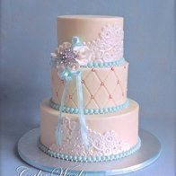 wedding cake with light tiffany blue accents