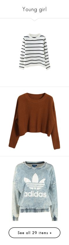 """""""Young girl"""" by anaunderground on Polyvore featuring tops, sweaters, shirts, long sleeves, long sleeve pullover shirts, knit pullover sweater, knit shirt, long sleeve knit shirt, pullover sweater e jumpers"""