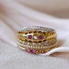 The Sweetheart Stack is sugar, spice and absolutely everything nice! Brightly colored sapphires, rubies and diamonds blend together the old and the new in a harmony of romantic Valentines bliss.