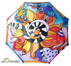 • Flower Illustrations • Psychedelic Illustrations • Rain Umbrella/ waterproof paints • Wooden Handle • White base • Bright Colors • Personalized The umbrella is painted with special fabric paints, which are resistant to rain or sun. The umbrella itself is automatic, sturdy, with a banded wooden handle and metal tops. The diameter of an open umbrella is 100 cm/40. inch. When it`s closed, it is 90 cm/36 inch long.