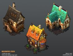 Marie Lazar. Artwork for Warwielder. Hand-painted textures on lowpoly models. Polycount Forum