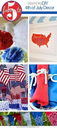 Need some quick and easy 4th of July decorations? Try these super-fast DIY projects for your party!