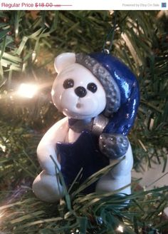 NEW YEAR SALE Christmas bear ornament Star by LaposLewisCreations