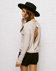 Don't Ask Why Plush Open Back Sweatshirt , Dust | American Eagle Outfitters